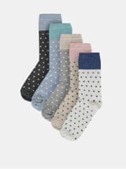 M&Co sada pěti párů puntíkovaných ponožek v šedé, bílé a béžové barvě