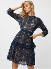Little Mistress tmavě modré krajkové šaty