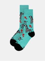 Fusakle zelené vzorované ponožky Zebra