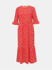 Miss Selfridge červené květované midi šaty