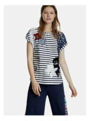 Desigual modro-bílé pruhované tričko s nášivkou Refresh