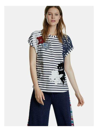 Desigual modro-bílé pruhované tričko s nášivkou Refresh L