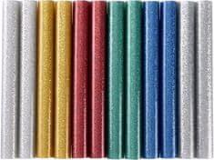 Extol Craft Tyčinky tavné farebné ligotavé 12ks, Z/M/SvM/Če/Zlt/Str, pr.11mm, dĺžka 100mm