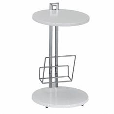 TEMPO KONDELA Príručný stolík s držiakom na časopisy, biela/chromovaná, ANABEL