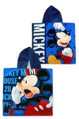 SETINO Detské plážové bavlnené pončo osuška s kapucňou Mickey - modrá