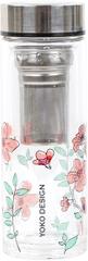 Yoko Design steklenica s cedilom za čaj, 350 ml, roza
