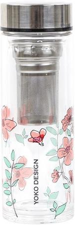 Yoko Design üveg palack tea szűrővel, 350 ml, rózsaszín
