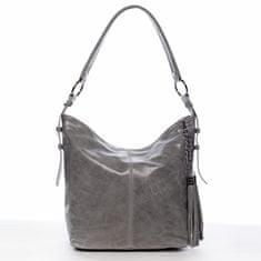Delami Vera Pelle Menšia dámska pohodlná kožená kabelka Martial tmavo sivá