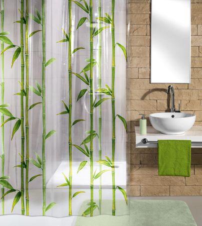 Kleine Wolke Zasłona łazienkowa Bambu, 180×200 cm, zielona