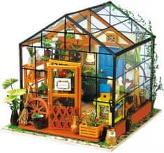 Robotime Stavebnice miniaturní domeček - Skleník miniatura LED DIY 1:24