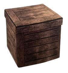 Sedací box vzhled dřevo 38x38x38 cm