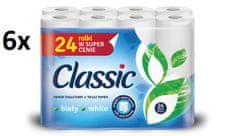 Classic White papier toaletowy 6 × 24 szt., 2-warstwowy