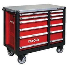 YATO Skříňka dílenská pojízdná, 6+6 zásuvek, červená
