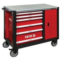 YATO Skříňka dílenská pojízdná, 6 zásuvek +zavírací skříň červená