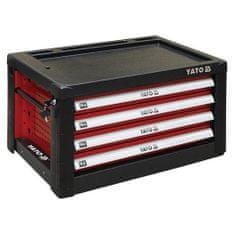 YATO Skříňka dílenská přenosná, 4 zásuvky, 690x465x400mm, červená