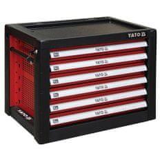 YATO Skříňka dílenská přenosná, 6 zásuvky, 690x465x535mm, červená