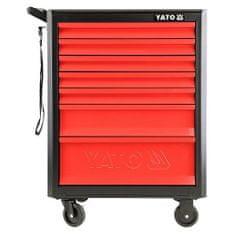 YATO Skříňka dílenská pojízdná, 7 zásuvek, černo/červená