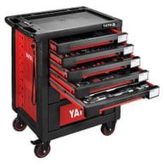 YATO Pojízdná dílenská skříňka s nářadím, 165ks, 7 zásuvek