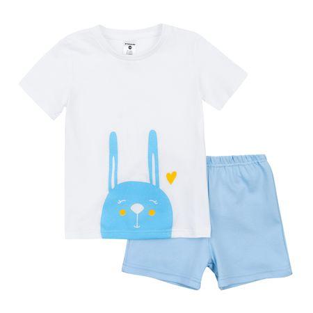 Garnamama gyerek pizsama sötétben világító lenyomattal Neon Summer 110 világoskék/fehér
