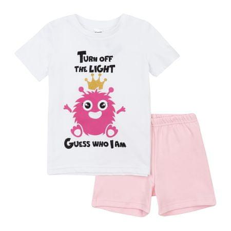 Garnamama dekliška pižama, potisk, svetleča v temi, 116, bela/roza