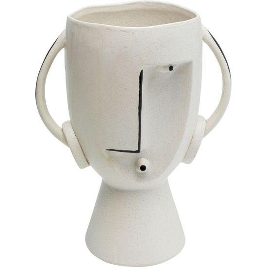 KARE Bílá kameninová váza Face Pot 30cm