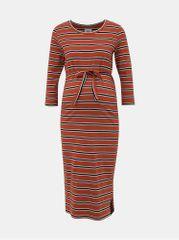 Mama.licious hnědé pruhované těhotenské šaty Naya