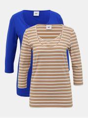 Mama.licious sada dvou těhotenských/kojících basic triček v hnědé a modré barvě Lea