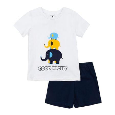 Garnamama piżama dziecięca z nadrukiem świecącym w ciemności Neon Summer biała/niebieska