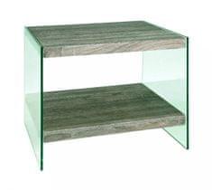 Mørtens Furniture Odkladací stolík Heron, 45 cm, číra / dub