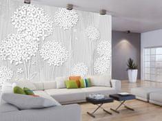 Murando DeLuxe Tapeta Bílé květy - dřevo Rozměry (š x v) a Typ: 196x140 cm - samolepící