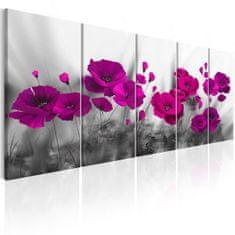 Murando DeLuxe Vícedílný obraz - fialové vlčí máky fialové Velikost: 150x60 cm