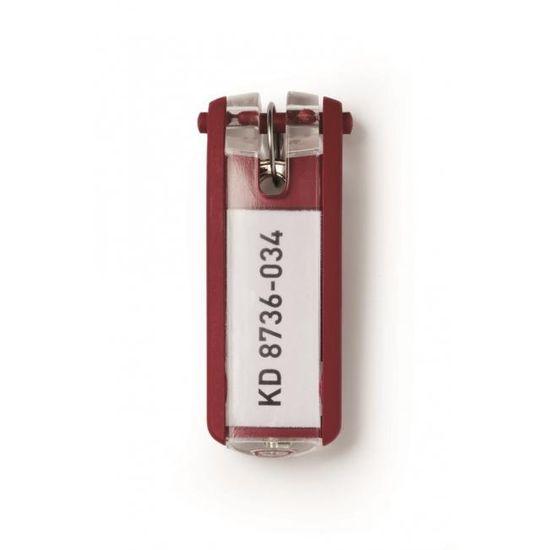 Durable Menovky na kľúče KEY CLIP červené 6ks