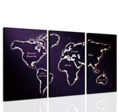 InSmile Třídílný obraz mapa světa II. Velikost: 90x70 cm