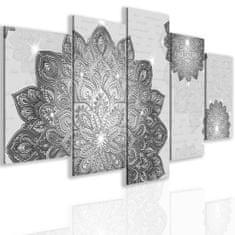 InSmile Pětidílný obraz stříbrná mandala Velikost: 150x75 cm