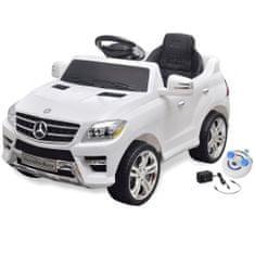 Detské elektrické auto s ovládačom biele Mercedes Benz ML350 6 V