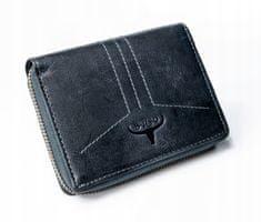 Buffalo Wild Větší pánská kožená peněženka na zip Buck, navy blue