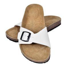 Biele unisex korkové sandále, s jedným popruhom s prackou, č. 39