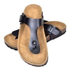 Čierne unisex korkové sandále v dizajne Flip Flop, č. 37