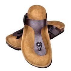 Hnedé unisex korkové sandále v dizajne Flip Flop, č. 36
