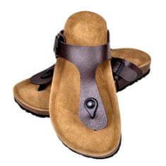 Hnedé unisex korkové sandále v dizajne Flip Flop, č. 40