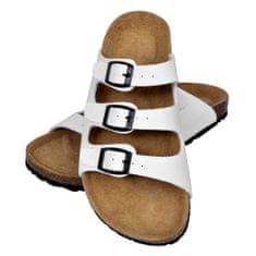 Biele unisex sandále z bio korku s 3 remienkami na spony, veľkosť 37