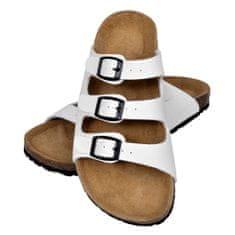 Biele sandále z bio korku s 3 remienkami na pracku, unisex, veľkosť 41