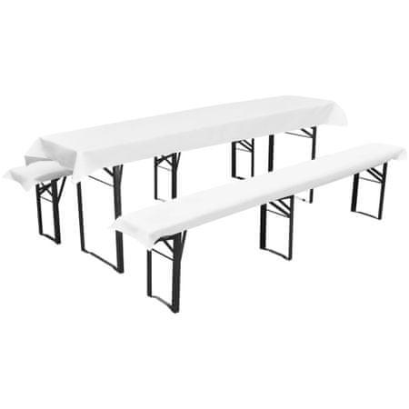 shumee 3 db védőhuzat sör asztalnak és padoknak 240 x 90 cm fehér