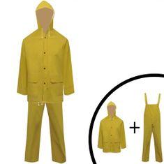 Wodoodporny 2 częściowy komplet przeciwdeszczowy z kapturem żółty XXL