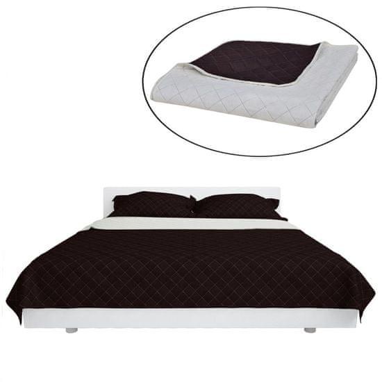 Béžovo hnedá obojstranná prešívaná prikrývka na posteľ 220 x 240 cm