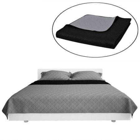 shumee Dwustronna pikowana narzuta na łóżko Czarna/Szara 220 x 240 cm