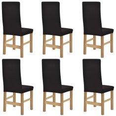 shumee Elastyczne pokrowce na krzesła, prążkowane, 6 szt., brązowe