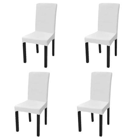 Elastyczne pokrowce na krzesło w prostym stylu, białe, 4 szt.