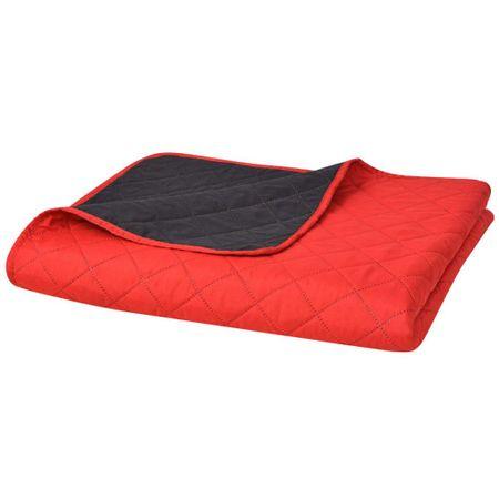 shumee 170x210 cm kétoldalas steppelt ágytakaró vörös és fekete