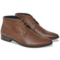 Pánske šnurovacie členkové topánky, hnedé, veľkosť 45, PU koža